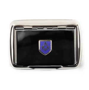 Masonic Tobacco Tin - High Polished Chrome with Mason Badge Thumbnail 2