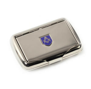 Masonic Tobacco Tin - High Polished Chrome with Mason Badge Thumbnail 3