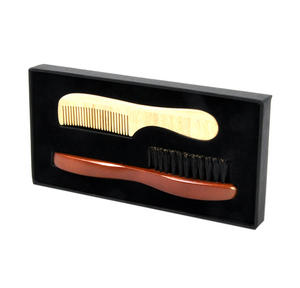 Beard Grooming - Pear Wood Comb and Bristle Brush Box Set Comb