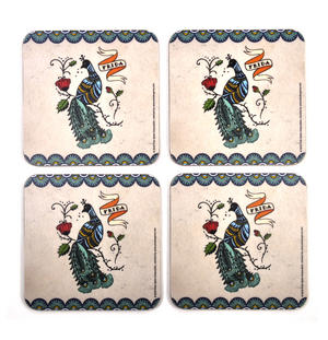 Frida Kahlo Peacock - Box Set of 4 Coasters Thumbnail 1
