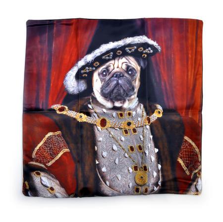 "Henry the Pug Dog King Cushion / Pillow Cover 18"" x 18"" / 46 cm x 46 cm"