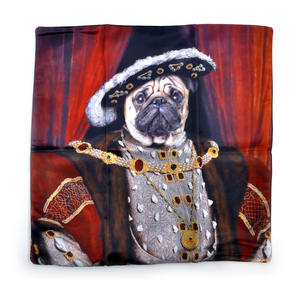 "Henry the Pug Dog King Cushion / Pillow Cover 18"" x 18"" / 46 cm x 46 cm"
