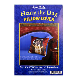 "Henry the Pug Dog King Cushion / Pillow Cover 18"" x 18"" / 46 cm x 46 cm Thumbnail 2"