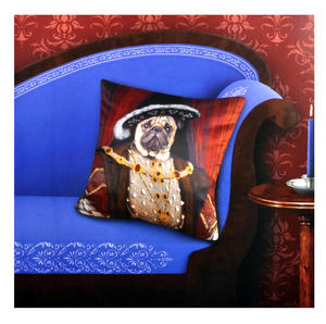 "Henry the Pug Dog King Cushion / Pillow Cover 18"" x 18"" / 46 cm x 46 cm Thumbnail 3"