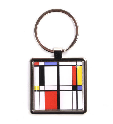 Modern Art Cubist Keyring - After Mondrian