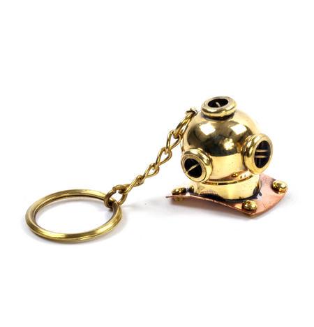 Diving Helmet Keyring - Brass Key Chain