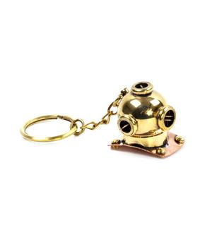 Diving Helmet Keyring - Brass Key Chain Thumbnail 2