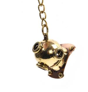 Diving Helmet Keyring - Brass Key Chain Thumbnail 3