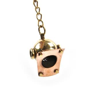 Diving Helmet Keyring - Brass Key Chain Thumbnail 4