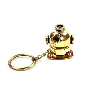 Diving Helmet Keyring - Brass Key Chain Thumbnail 5