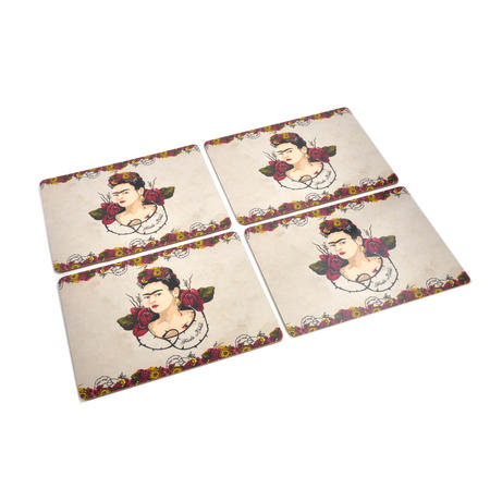 Frida Kahlo Portrait Set of Four Place Mats / Tablemats