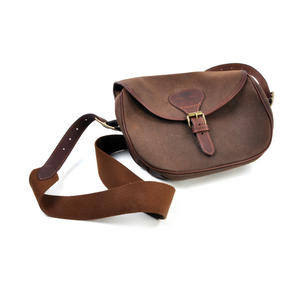 Cartridge Bag - Heavy Brown Canvas Shoulder Satchel