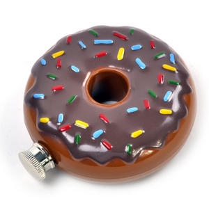Hip Donut - Chocolate Doughnut 6'oz Hip Flask Thumbnail 2