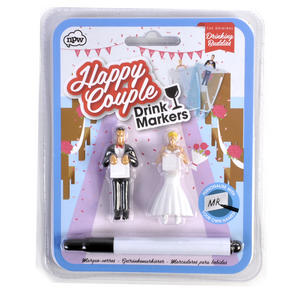 Happy Couple - Wedding Party Glass Drink Markers - Personalisable Thumbnail 1