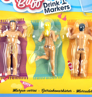 Nude Buddies Party Glass Drink Markers - In the Buff Nudist Beach Fun Thumbnail 2