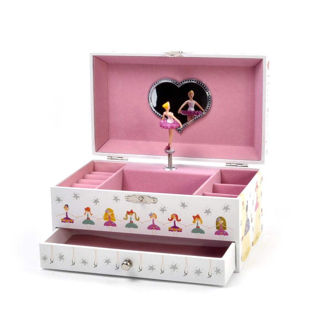 Ballerina WindUp Musical Jewellery Storage Box Lets Dance Pink