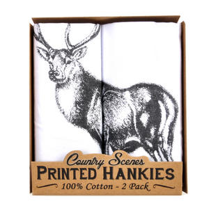 Stag - 2 Pack - Country Scenes Printed Handkerchiefs Thumbnail 2