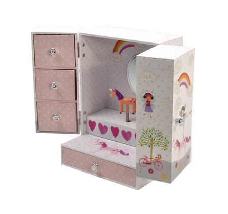Unicorn Wind-Up Musical Jewellery Storage Box - I Believe in Unicorns, Magic and Fairies.