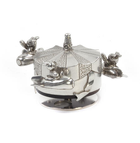 Bunnies Day Out Jet Rocket Music Carousel - Pewter Musical Box in Wooden Gift Box by Royal Selangor