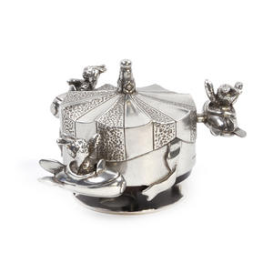 Bunnies Day Out Jet Rocket Music Carousel - Pewter Musical Box in Wooden Gift Box by Royal Selangor Thumbnail 4