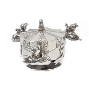 Bunnies Day Out Jet Rocket Music Carousel - Pewter Musical Box in Wooden Gift Box by Royal Selangor Thumbnail 5