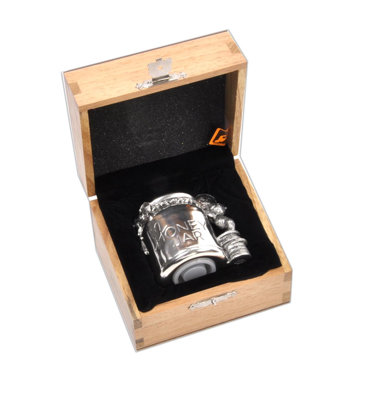 Honey Jar - Pewter Money Box by Royal Selangor in Wooden ...