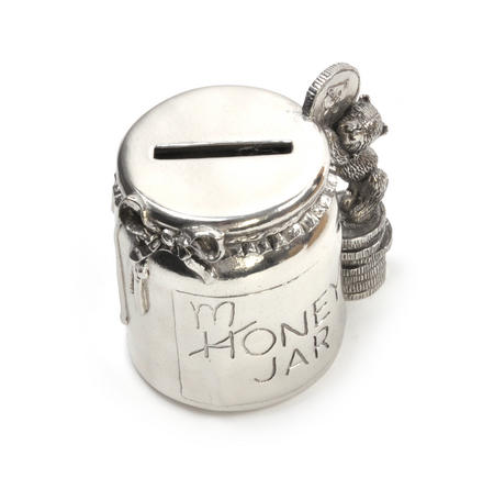 Honey Jar - Pewter Money Box by Royal Selangor in Wooden Gift Box