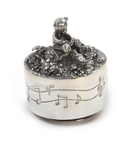 Teddy Bear Music Carousel - Pewter Musical Box in Wooden Gift Box by Royal Selangor