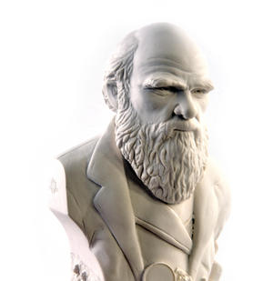 Charles Darwin Statuette - Famous Faces Collection Plaster Bust Thumbnail 1