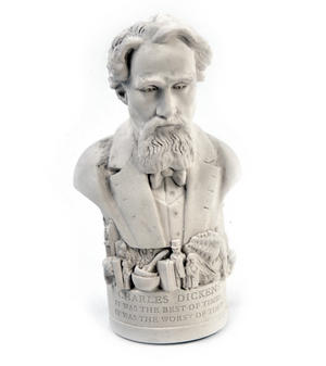 Charles Dickens Statuette - Famous Faces Collection Plaster Bust Thumbnail 3