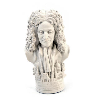Sir Christopher Wren Statuette - Famous Faces Collection Plaster Bust Thumbnail 3
