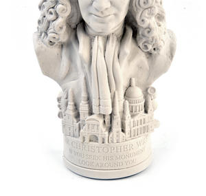 Sir Christopher Wren Statuette - Famous Faces Collection Plaster Bust Thumbnail 4