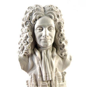 Sir Christopher Wren Statuette - Famous Faces Collection Plaster Bust Thumbnail 7