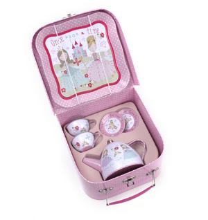 Princess Tea Party Set - 7pc Miniature Tea Set - In Square Case