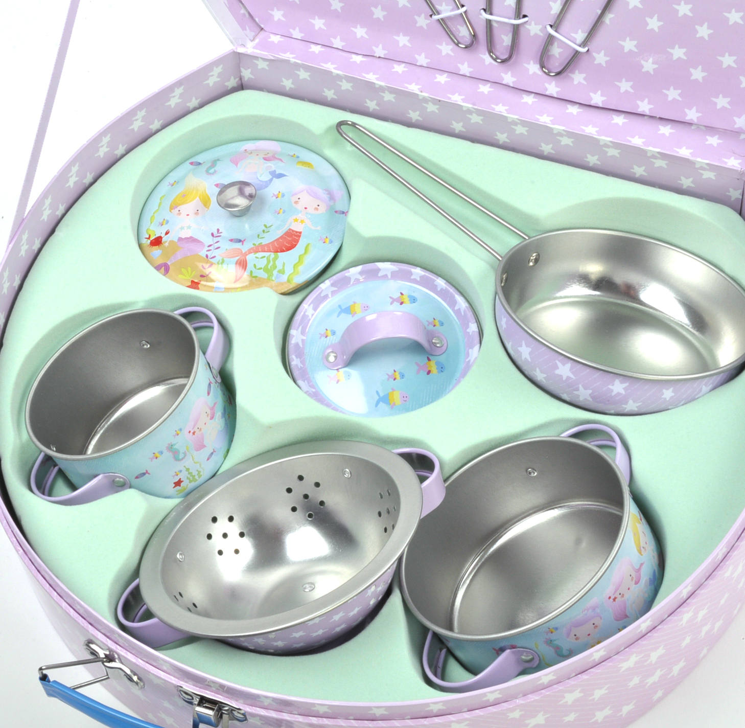 Mermaid Chef\'s Kitchen Set - 10pc Miniature Cooking Set in Round ...