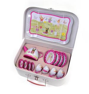 Bunny Rabbits Tea Party Set - 15pc Miniature Tea Set in Attaché Case