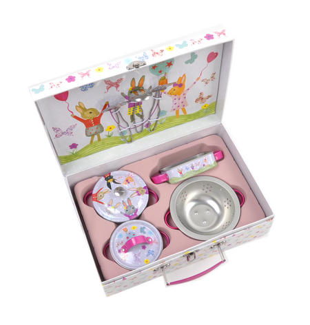 Bunny Rabbits Chef's Kitchen Set - 9pc Miniature Cooking Set in Oblong Case