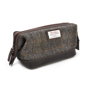 Harris Tweed Traditional Metal Frame Zipper Washbag