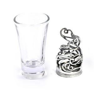 Art Deco Swirl - Solid Pewter Shot Glass Holder and Glass Thumbnail 2