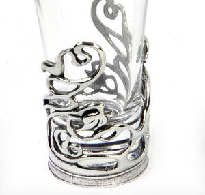 Art Deco Swirl - Solid Pewter Shot Glass Holder and Glass Thumbnail 4