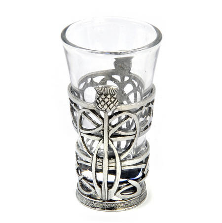Thistle - Solid Pewter Shot Glass Holder and Glass