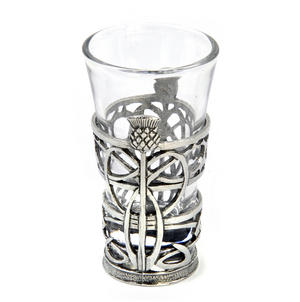 Thistle - Solid Pewter Shot Glass Holder and Glass Thumbnail 1