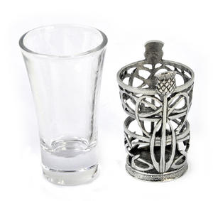 Thistle - Solid Pewter Shot Glass Holder and Glass Thumbnail 2