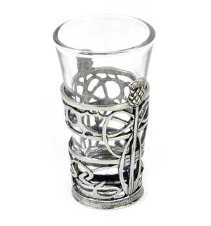Thistle - Solid Pewter Shot Glass Holder and Glass Thumbnail 3