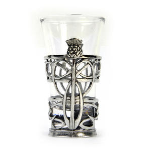 Thistle - Solid Pewter Shot Glass Holder and Glass Thumbnail 4