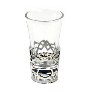 Enamelled Dot - Solid Pewter Shot Glass Holder and Glass