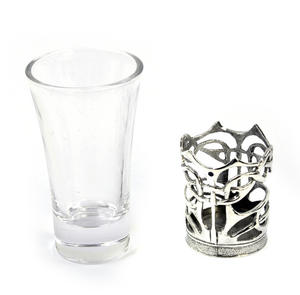 Enamelled Dot - Solid Pewter Shot Glass Holder and Glass Thumbnail 3