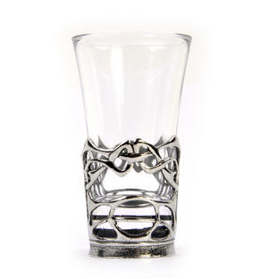 Enamelled Dot - Solid Pewter Shot Glass Holder and Glass Thumbnail 4