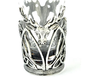 Highland Stag - Solid Pewter Shot Glass Holder and Glass Thumbnail 2