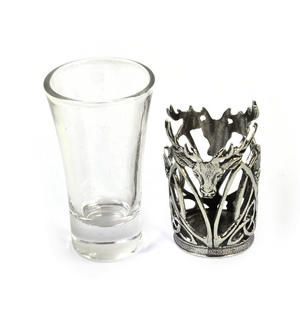 Highland Stag - Solid Pewter Shot Glass Holder and Glass Thumbnail 4